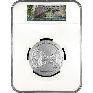 2011 P America The Beautiful Silver 5oz Chickasaw SP70 ER NGC