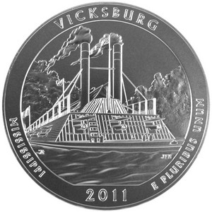 2011 P America The Beautiful Silver Vicksburg 5oz Vapor Blasted UNC
