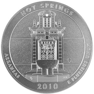2010 P America The Beautiful Silver Hot Springs 5oz Vapor Blasted UNC