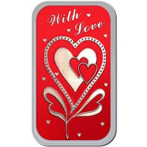 With Love 1oz .999 Silver Bar Enameled