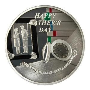 Fathers Day Pocket Watch 1oz .999 Silver Medallion Enameled