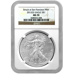 2012 S Silver American Eagle Struck at San Francisco Mint MS70 NGC Brown Label