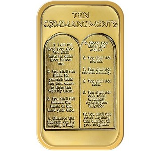 Ten Commandments 1oz .999 Silver Bar Gold Plated