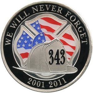 We Will Never Forget 911 1oz .999 Silver Medallion Enameled
