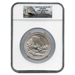 2010 P America The Beautiful Silver 5oz Yosemite SP70 ER NGC
