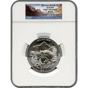 2011 America The Beautiful Silver 5oz Glacier MS69 ER NGC