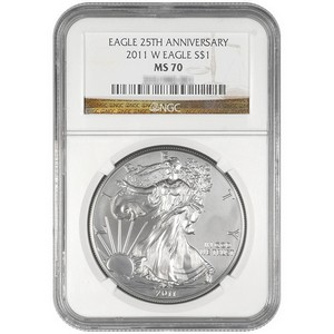 2011 W Silver American Eagle 25th Anniversary MS70 Burnished NGC Brown Label