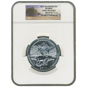 2011 America The Beautiful Silver 5oz Olympic MS69 PL ER NGC