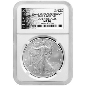 2011 Silver American Eagle MS70 ER NGC ALS Label