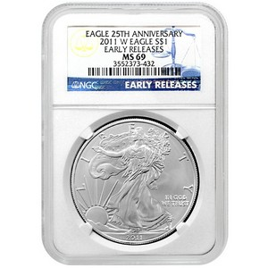 2011 W Silver American Eagle MS69 Burnished ER NGC
