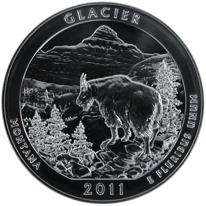 2011 America the Beautiful Silver 5oz Glacier UNC