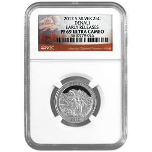 2012 S America The Beautiful Silver Quarter Denali PF69 UC ER NGC