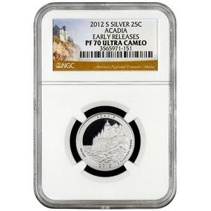 2012 S America The Beautiful Silver Quarter Acadia PF70 UC ER NGC