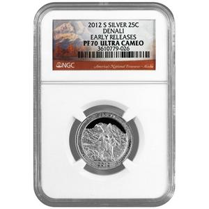 2012 S America The Beautiful Silver Quarter Denali PF70 UC ER NGC