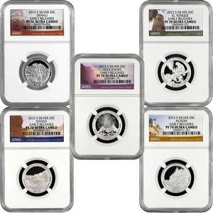 2012 S America The Beautiful Silver Quarters PF70 UC ER NGC 5 Coin Set