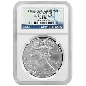 2012 S Silver American Eagle Struck at San Francisco Mint MS70 ER NGC Blue Label
