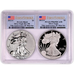 2012 S Silver American Eagle 2pc Proof Set PR69 FS PCGS Flag Label in Multiholder
