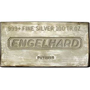 100oz .999 Silver Engelhard Bar