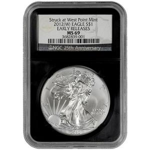 2012 W Silver American Eagle Struck at West Point MS69 ER NGC Retro Holder