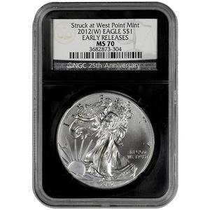 2012 W Silver American Eagle Struck at West Point MS70 ER NGC Retro Holder Anniversary Label