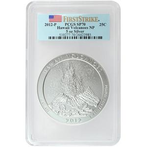 2012 P America The Beautiful Silver 5oz Hawaii Volcanoes SP70 FS PCGS