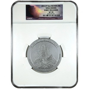 2012 P America The Beautiful Silver 5oz Hawaii Volcanoes SP70 ER NGC