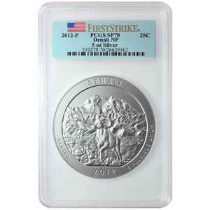 2012 P America The Beautiful Silver 5oz Denali SP70 FS PCGS