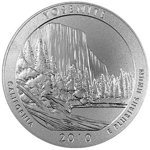 2010 America The Beautiful Silver Yosemite 5oz Vapor Blasted UNC