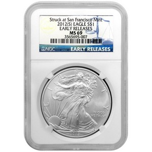 2012 S Silver American Eagle Struck at San Francisco Mint MS69 ER NGC Blue Label