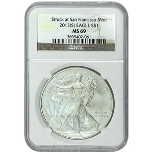 2013 S Silver American Eagle Struck at San Francisco Mint MS69 NGC Brown Label