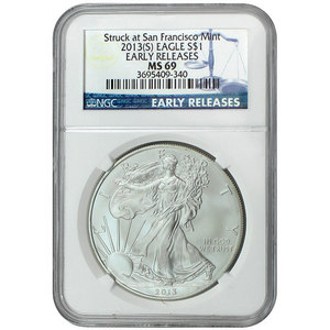 2013 S Silver American Eagle Struck at San Francisco Mint  MS69 ER NGC Blue Label