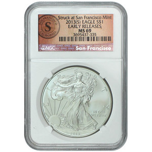 2013 S Silver American Eagle Struck at San Francisco MS69 ER NGC San Fran Label