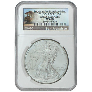 2013 S Silver American Eagle Struck at San Francisco Mint MS69 ER NGC Trolley Label