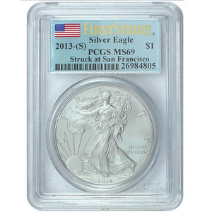2013 S Silver American Eagle Struck at San Francisco MS69 FS PCGS Flag Label