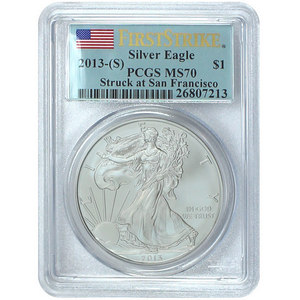 2013 S Silver American Eagle Struck at San Francisco MS70 FS PCGS Flag Label