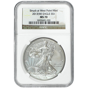 2013 W Silver American Eagle Struck at West Point MS70 NGC Brown Label