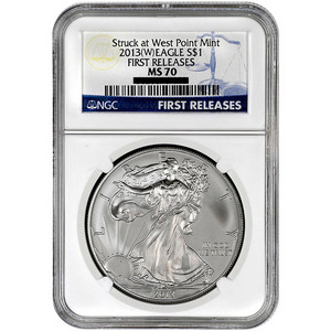 2013 W Silver American Eagle Struck at West Point MS70 FR NGC Blue Label