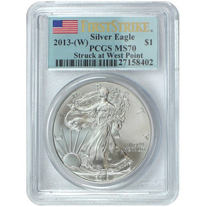 2013 W Silver American Eagle Struck at West Point MS70 FS PCGS Flag Label