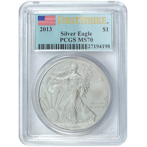 2013 Silver American Eagle MS70 FS PCGS Flag Label