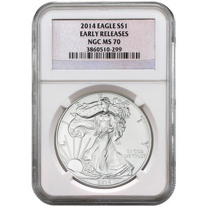 2014 Silver American Eagle MS70 ER NGC Silver Foil Label
