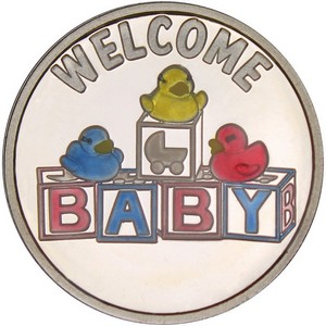 Welcome Baby Toy Blocks 1oz .999 Silver Medallion Enameled