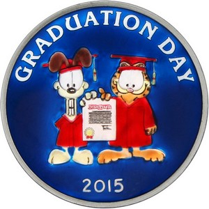Garfield Graduation Day 2015 1oz .999 Silver Medallion Enameled