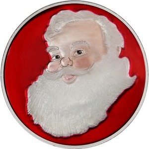 2014 Santa Face Half Ounce .999 Silver Medallion Enameled