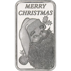2014 Merry Christmas Santa Face 5oz .999 Silver Bar