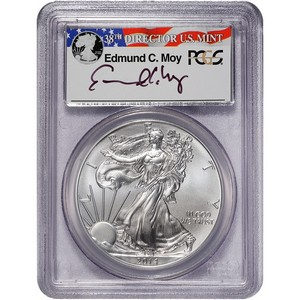2014 W Struck at West Point Silver American Eagle MS70 PCGS Edmund C Moy Signature Label