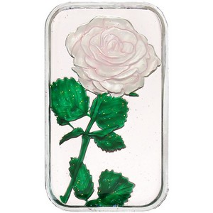 White Rose 1oz .999 Silver Bar Enameled