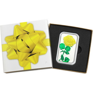 Yellow Rose 1oz .999 Silver Bar Enameled