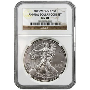 2013 W Silver American Eagle MS70 NGC Brown Annual Dollar Coin Set Label