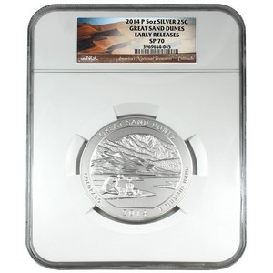 2014 P America the Beautiful Silver 5oz Great Sand Dunes SP70 ER NGC National Treasures Label