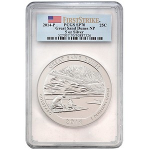 2014 P America the Beautiful Silver 5oz Great Sand Dunes SP70 FS PCGS Flag Label